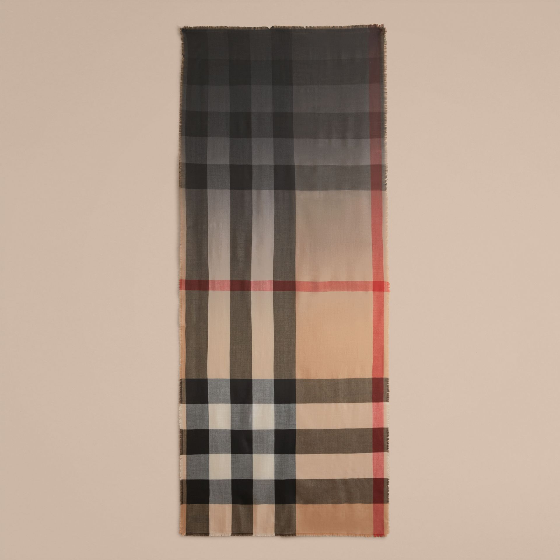 The Lightweight Cashmere Scarf in Ombré Check Camel/black - gallery image 5