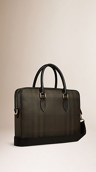 Borsa portadocumenti con motivo Smoked check e finiture in pelle