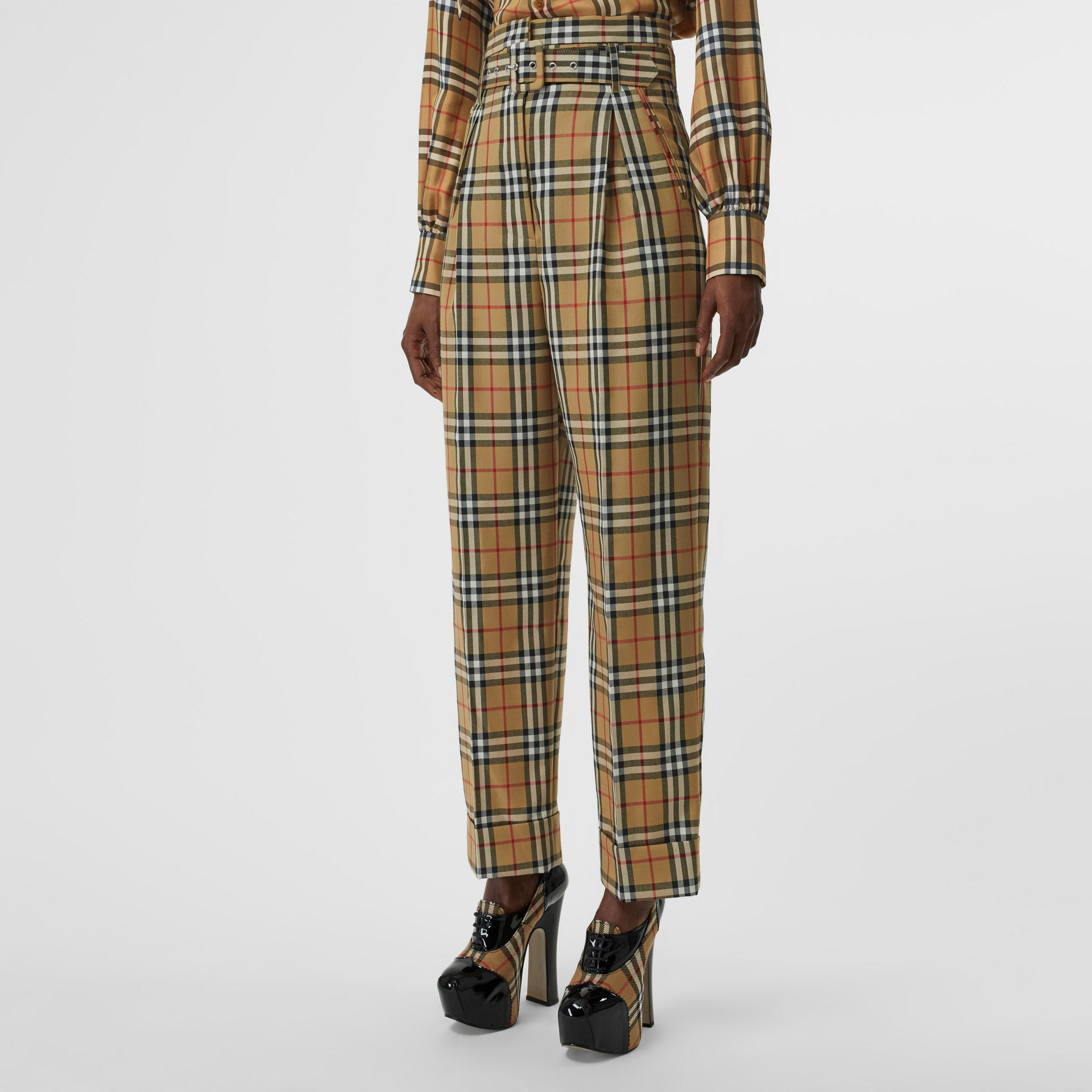Vintage Check Wool High-waisted Trousers in Antique Yellow - Women | Burberry - gallery image 4