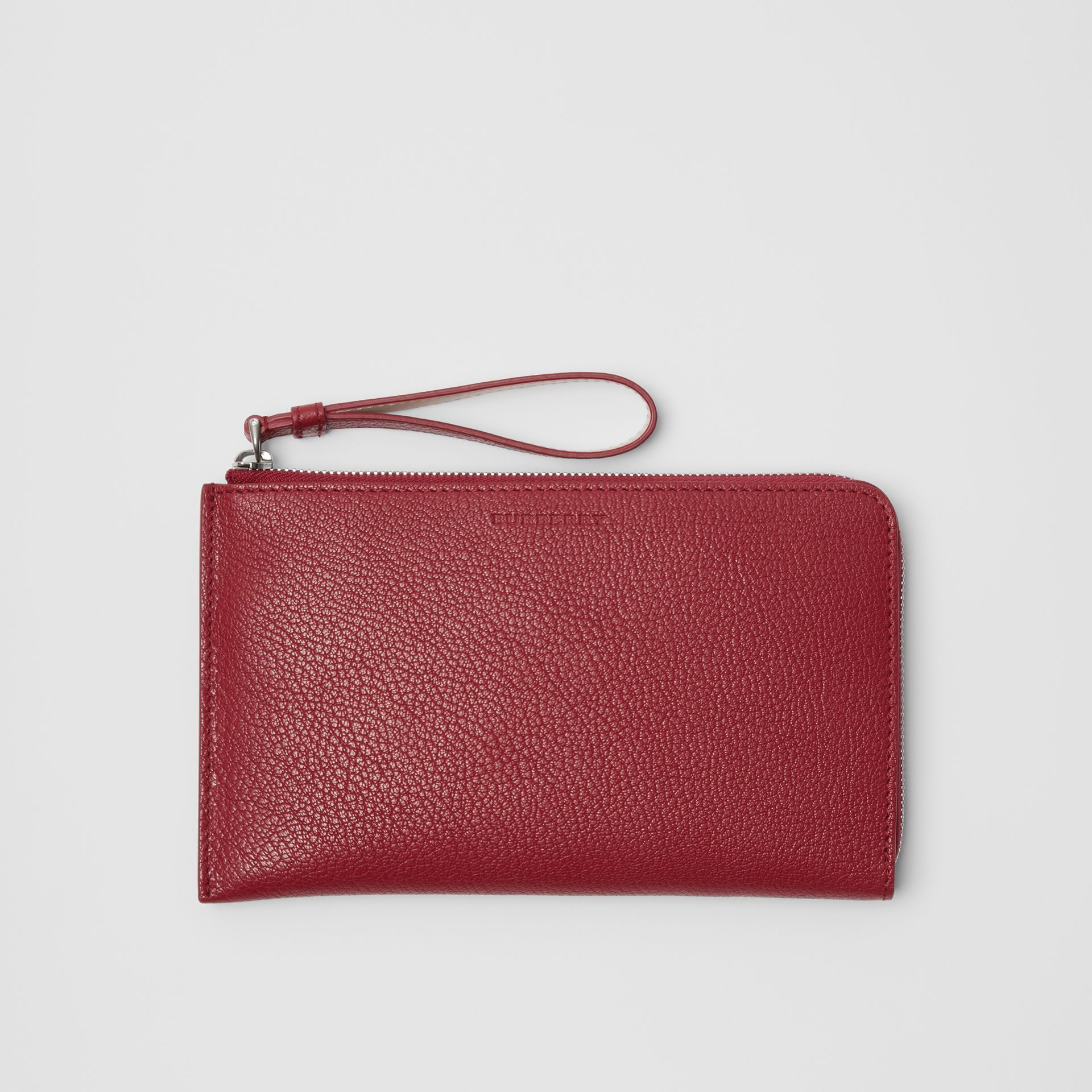 Two-tone Grainy Leather Travel Wallet in Crimson - Women | Burberry - gallery image 0