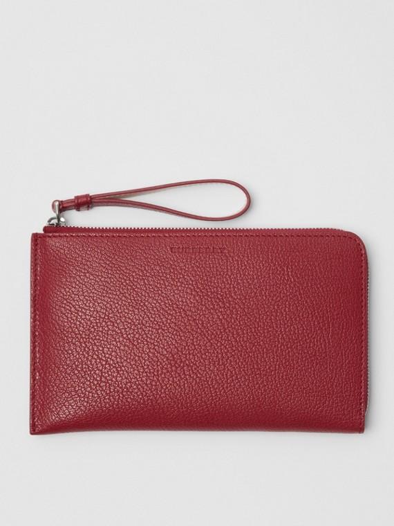 Reisebrieftasche aus genarbtem Leder in Zweitonoptik (Karmesinrot)