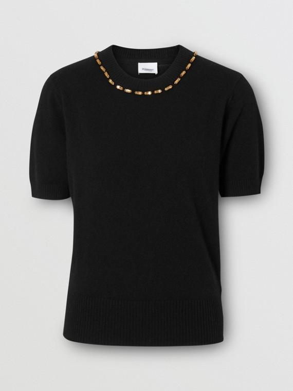 Embellished Cashmere Top in Black