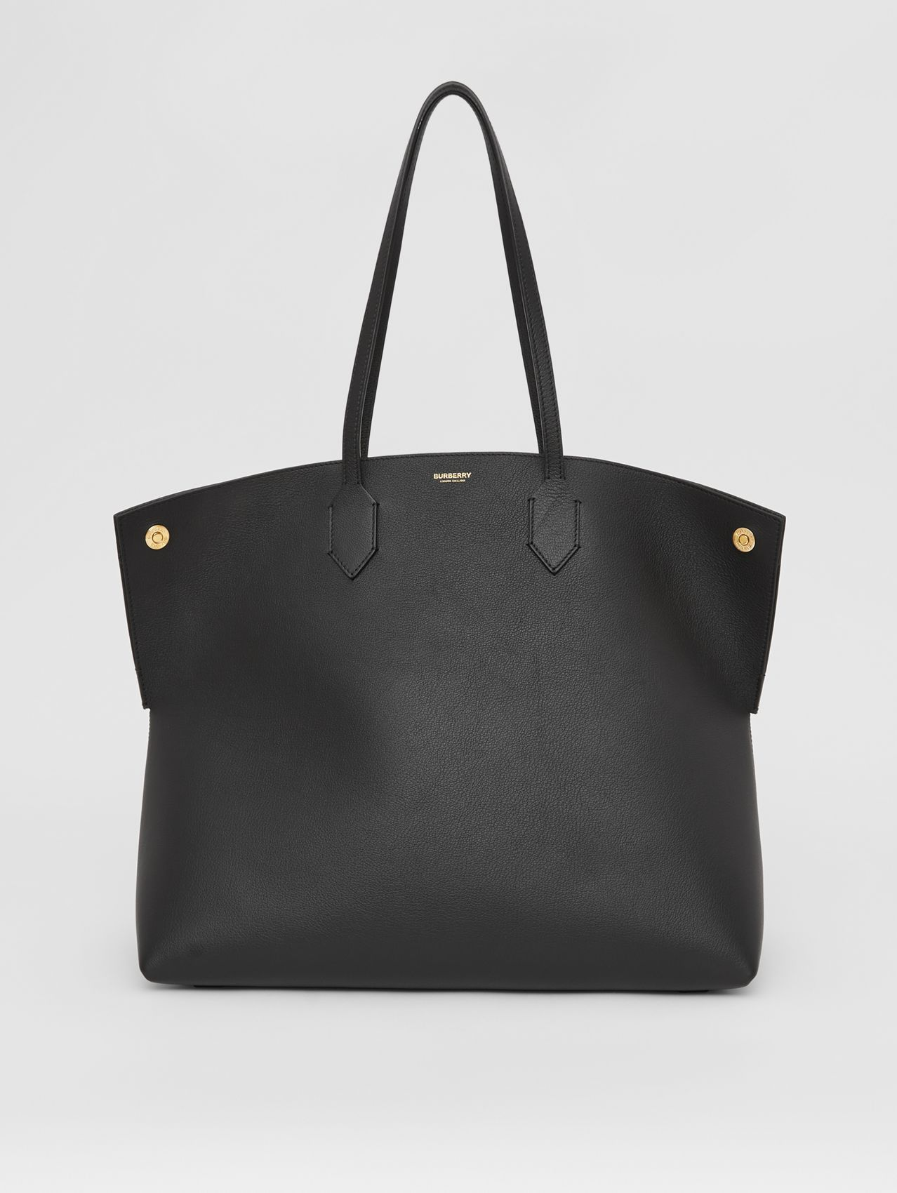 Large Grainy Leather Society Tote in Black
