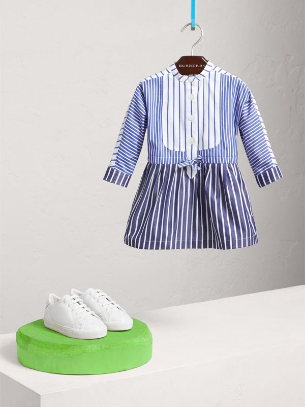 Contrast Stripe Cotton Dress in Indigo | Burberry - cell image 2