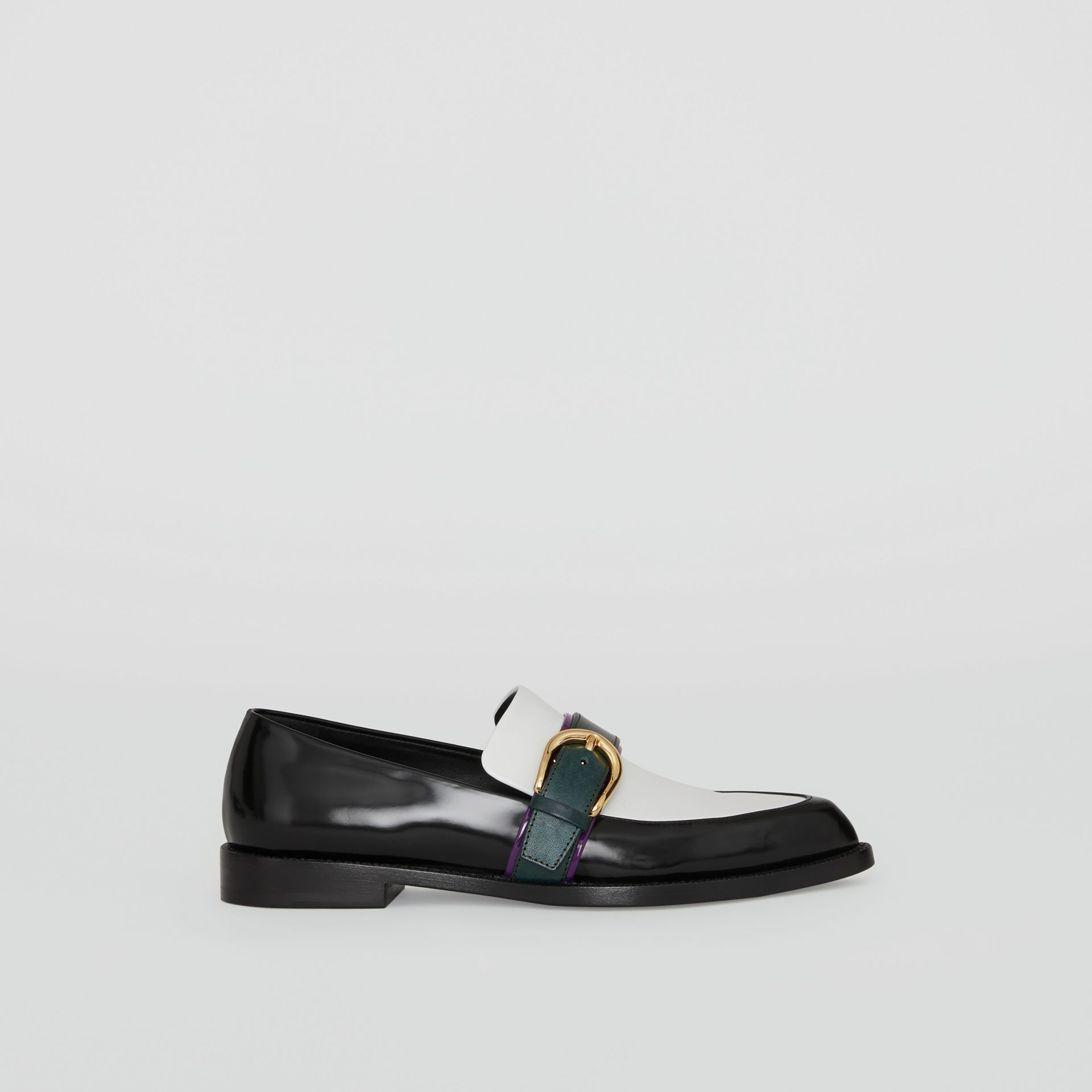 Colour Block Leather Monk Shoes in Black - Women | Burberry Canada - gallery image 0