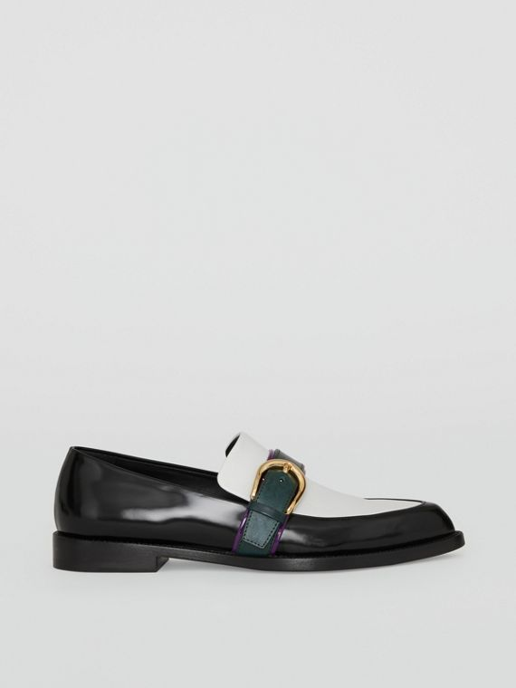 Colour Block Leather Monk Shoes in Black