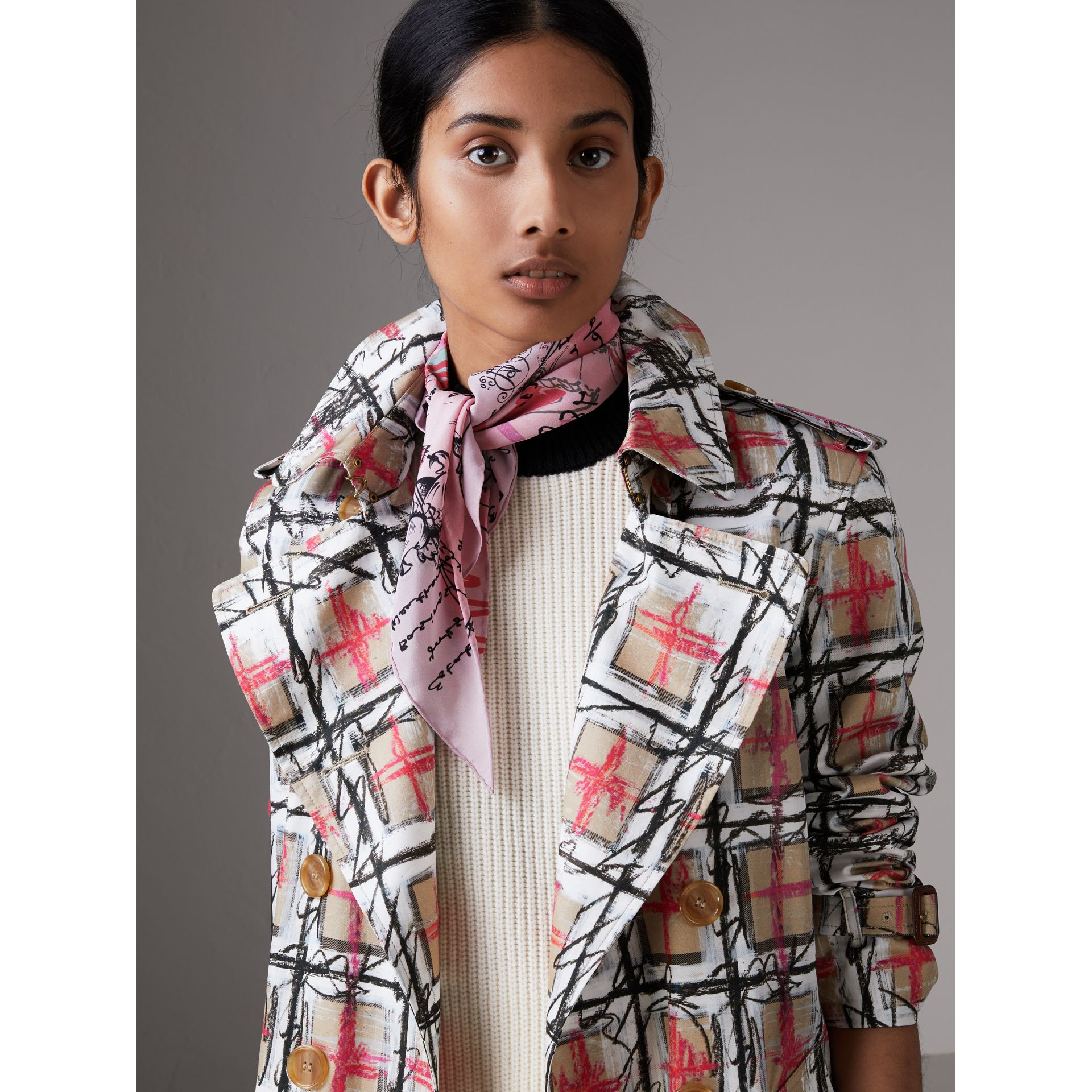 Postcard Print Silk Scarf in Bright Rose - Women | Burberry - gallery image 3