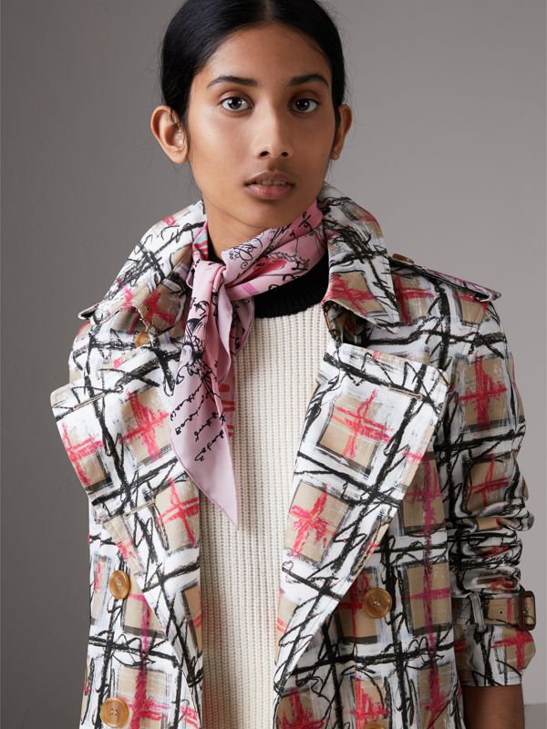 Postcard Print Silk Scarf in Bright Rose - Women | Burberry - cell image 3