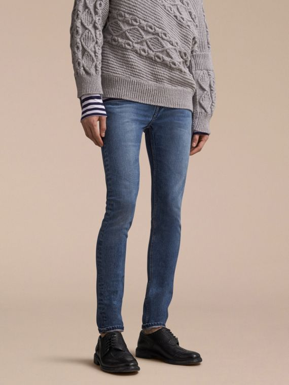 Skinny Fit Stretch-denim Jeans in Mid Indigo