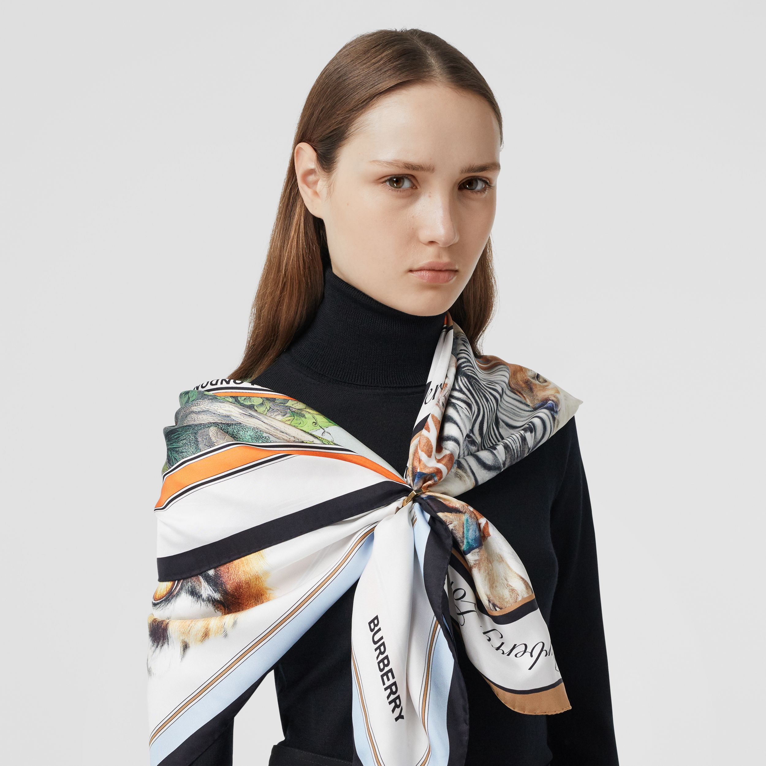 Montage Print Silk Scarf in Multicolour | Burberry - 3