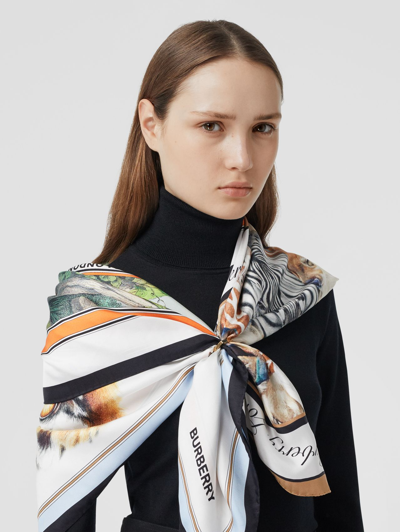 Montage Print Silk Scarf in Multicolour