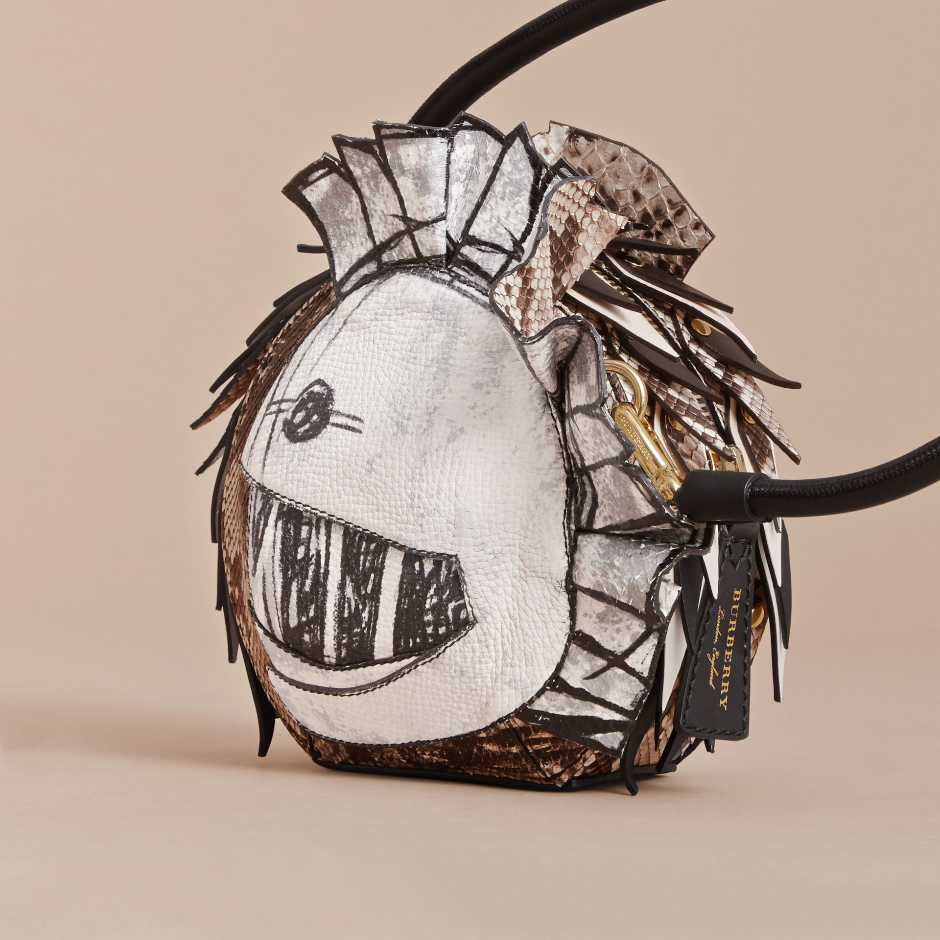 Leather and Snakeskin Pallas Helmet Shoulder Bag - gallery image 4