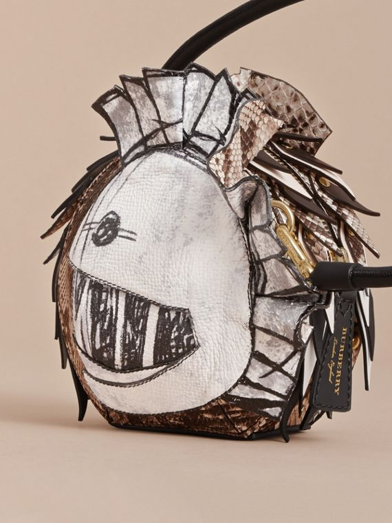 Leather and Snakeskin Pallas Helmet Shoulder Bag in Black/white - Women | Burberry - cell image 3