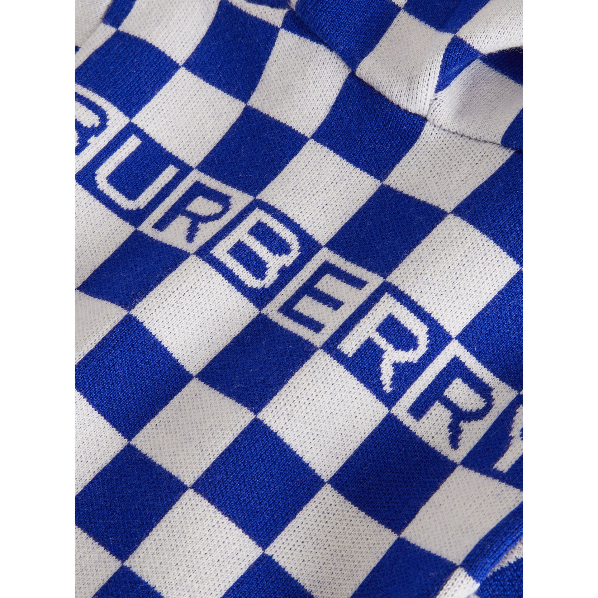 Chequer Merino Wool Hooded Top in Cobalt Blue - Children | Burberry - gallery image 1