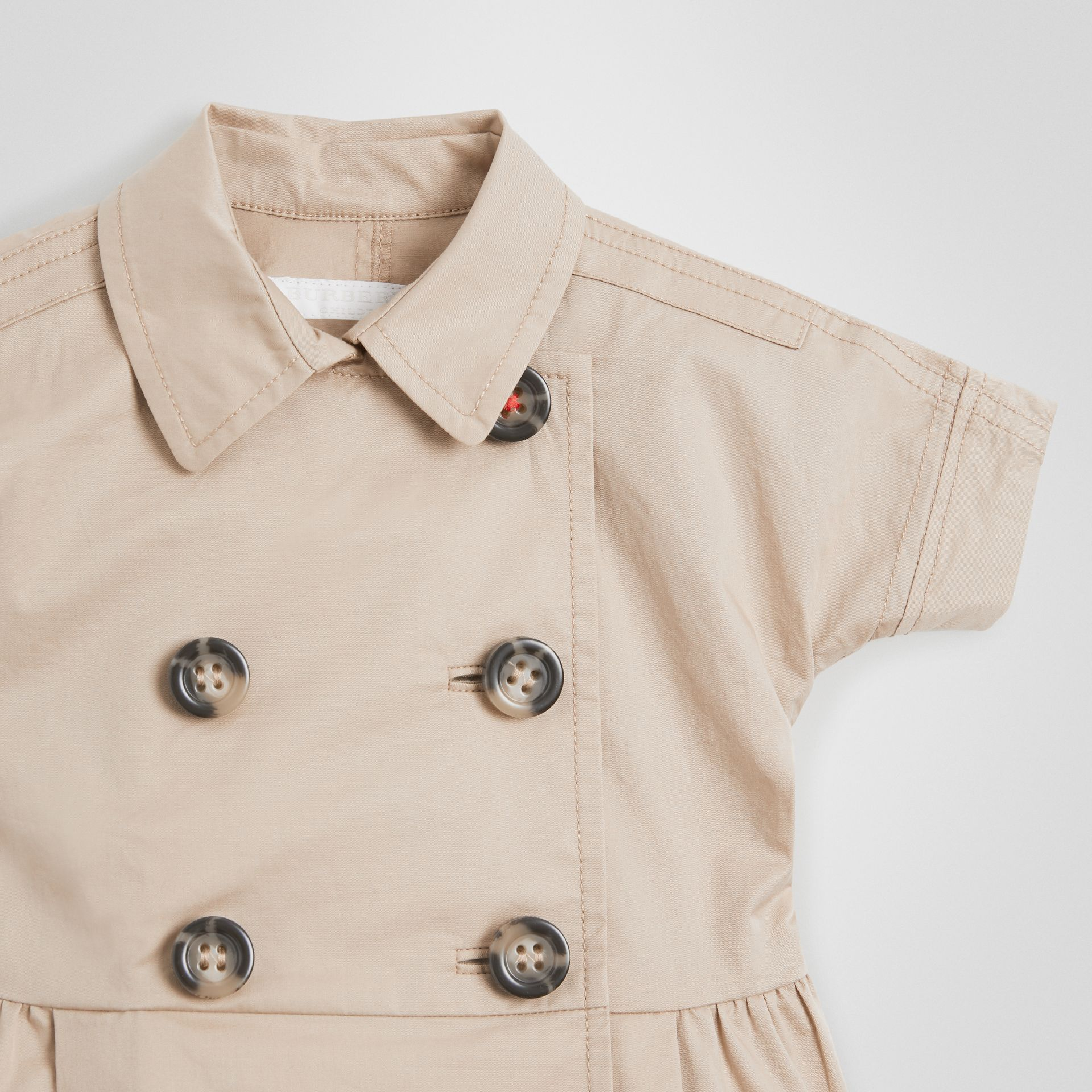 Stretch Cotton Trench Dress in Honey - Children | Burberry United Kingdom - gallery image 4
