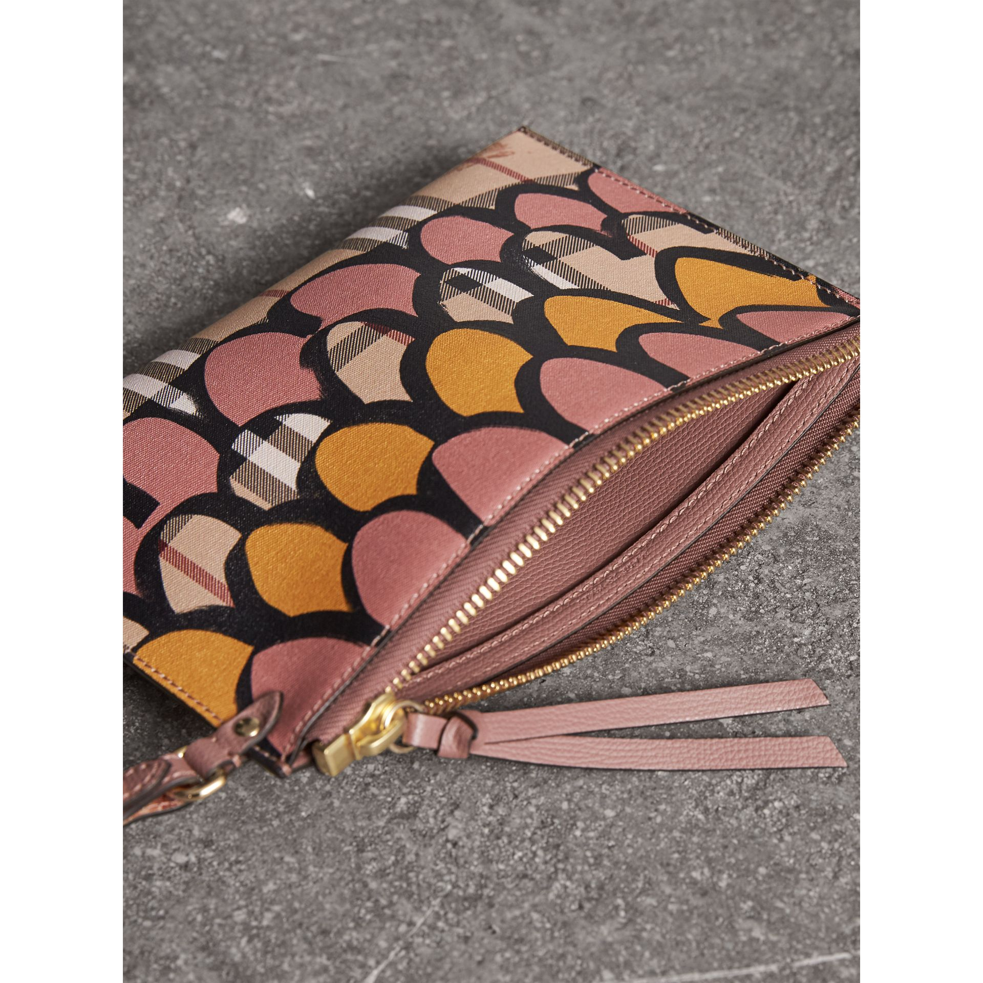 Trompe L'oeil Haymarket Check and Leather Pouch in Dusty Pink - Women | Burberry Australia - gallery image 5