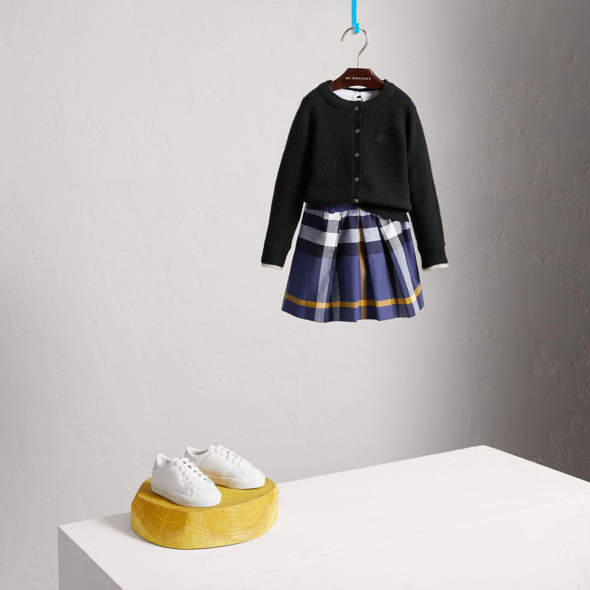 Pleated Check Cotton Skirt in Pale Navy - Girl | Burberry Australia - gallery image 0
