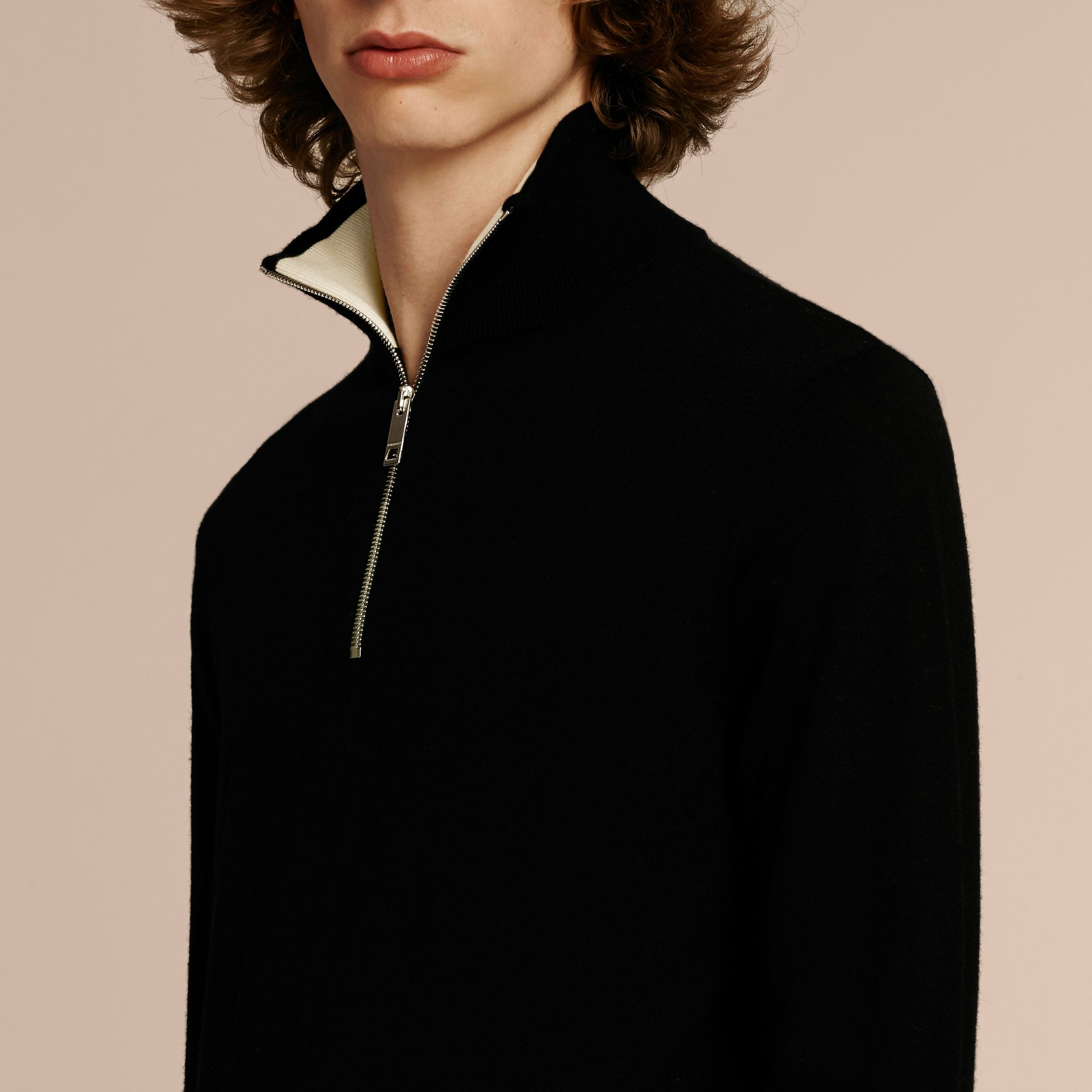 Black Zip-collar Cashmere Sweater Black - gallery image 5