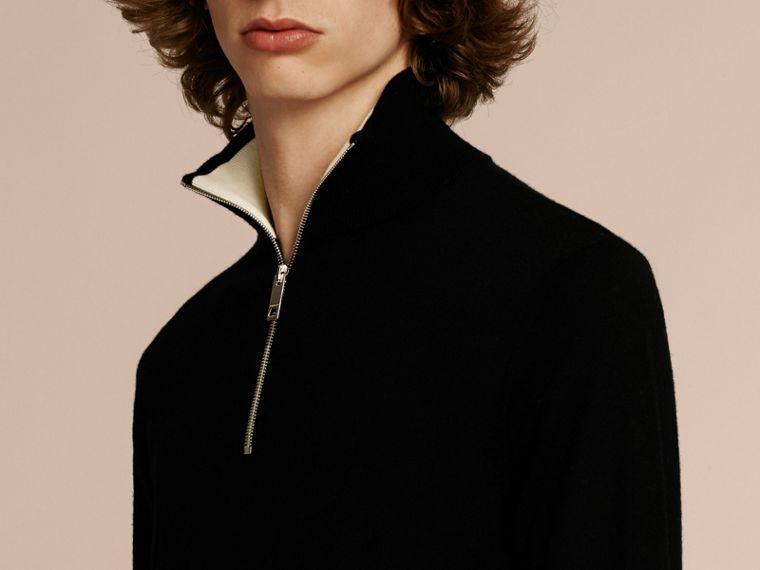 Black Zip-collar Cashmere Sweater Black - cell image 4