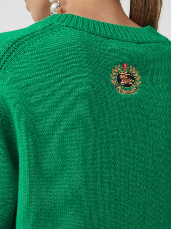 Archive Logo Appliqué Cashmere Sweater in Vibrant Green - Women | Burberry Australia - cell image 1