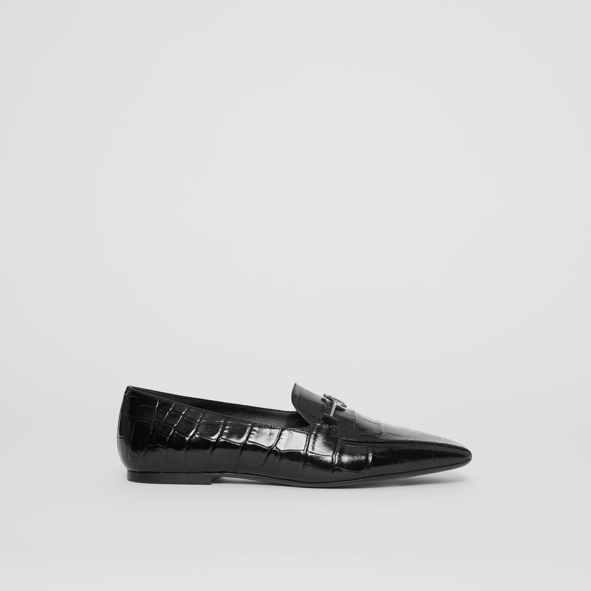 Monogram Motif Embossed Leather Loafers in Black - Women | Burberry - gallery image 5