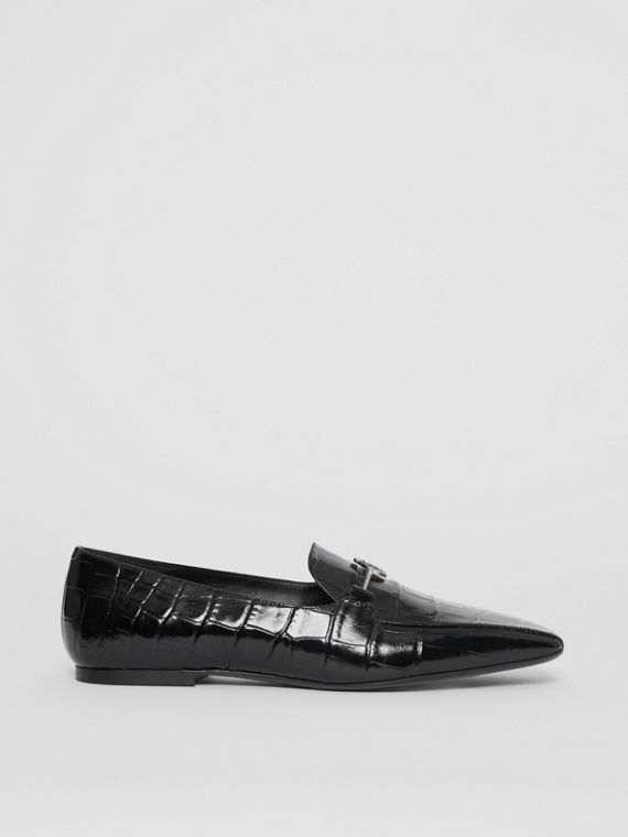 Monogram Motif Embossed Leather Loafers in Black