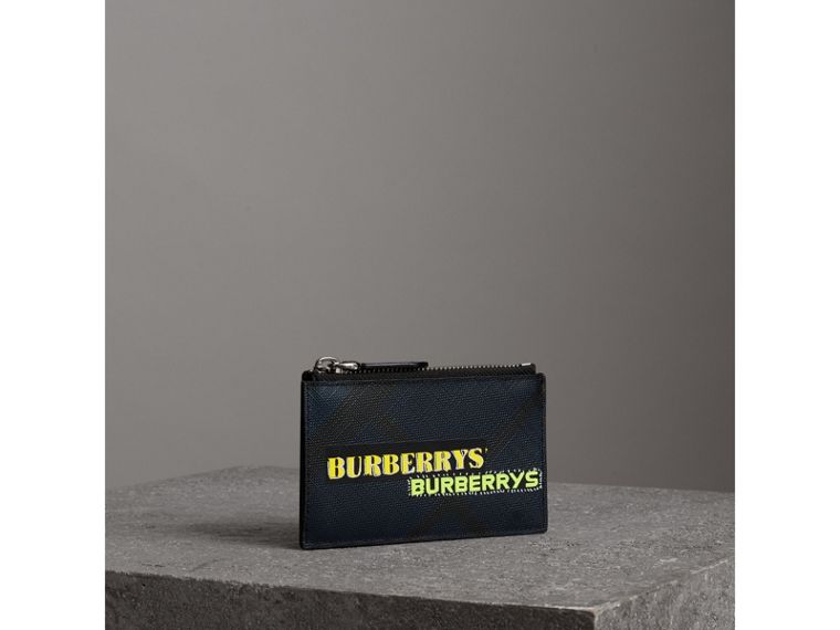 Logo Print London Check Zip Card Case in Charcoal | Burberry Canada - cell image 4