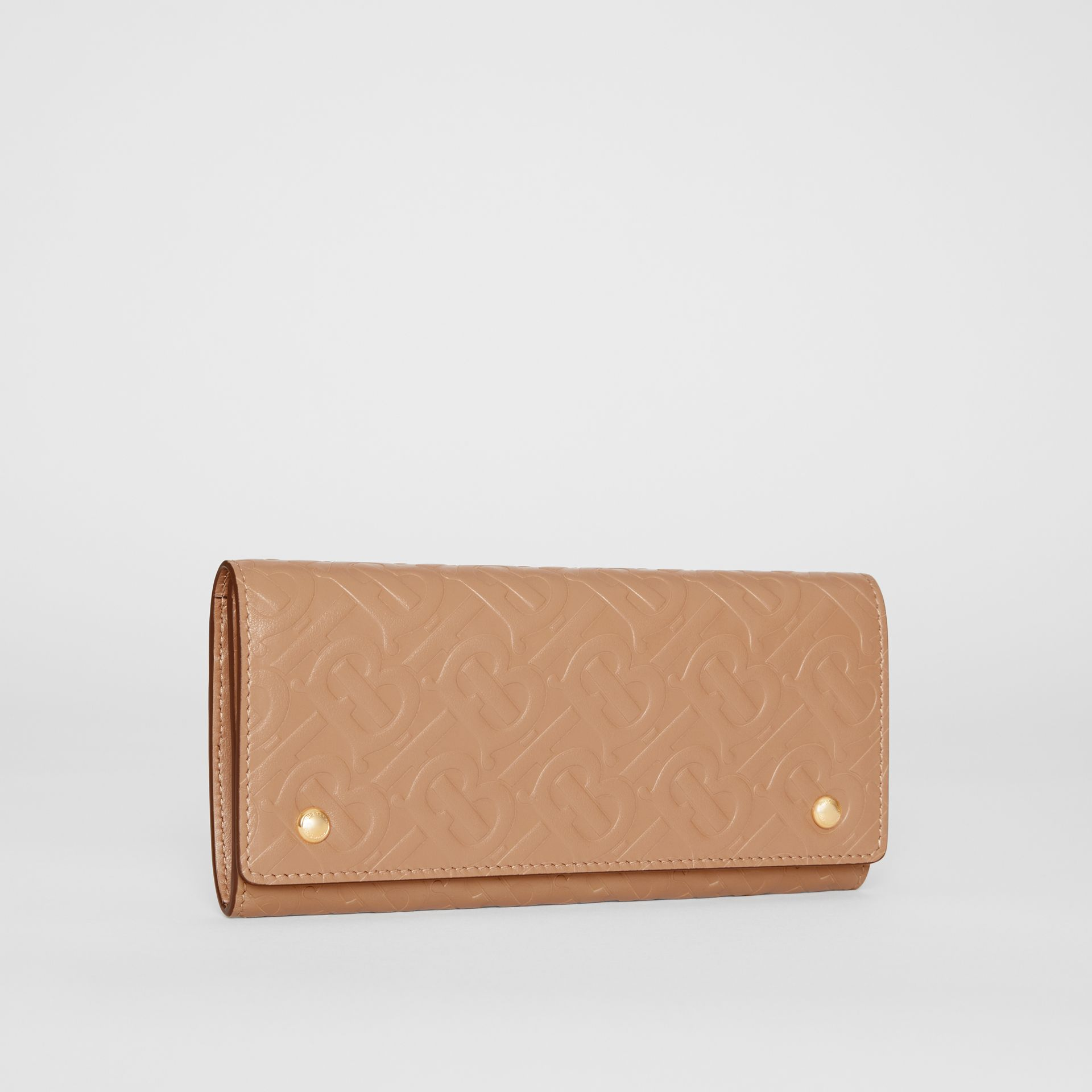 Monogram Leather Continental Wallet in Light Camel - Women | Burberry United Kingdom - gallery image 4