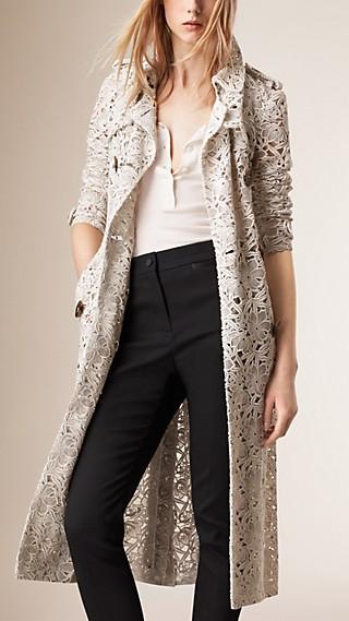 Slim Fit Macramé Lace Trench Coat