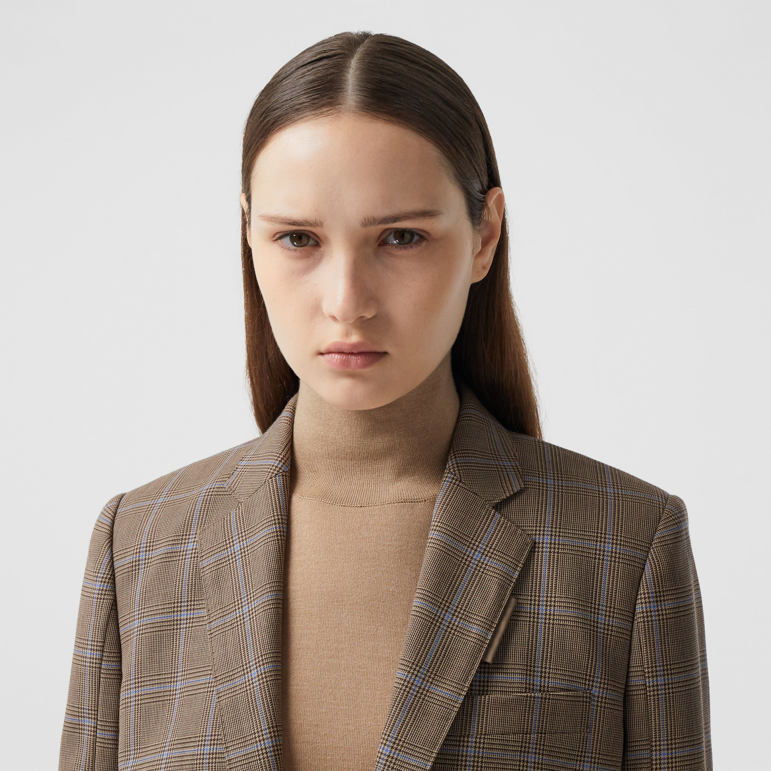 Prince of Wales Check Wool Tailored Jacket in Birch Brown - Women | Burberry - 2