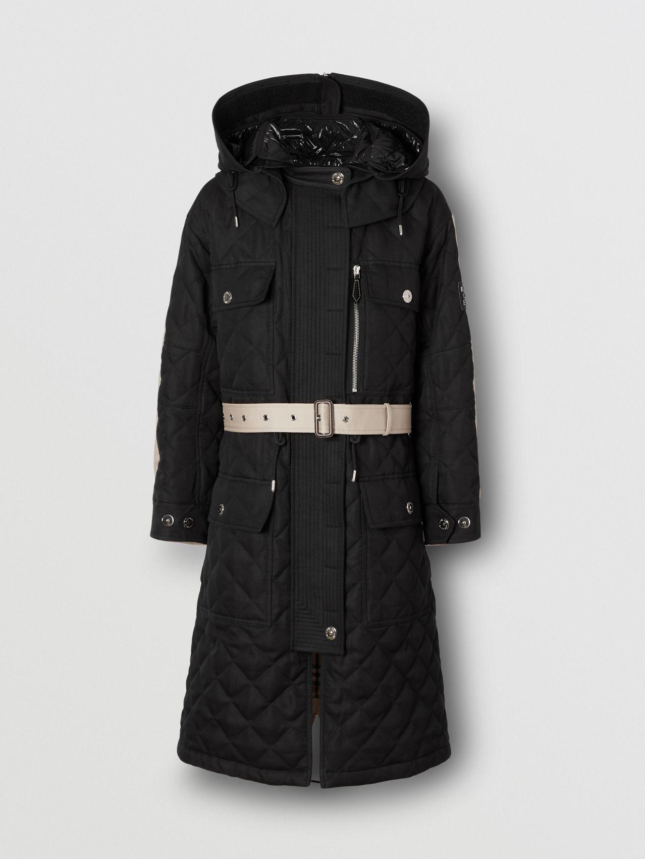 Detachable Hood Quilted Ramie Cotton and Cotton Parka in Black