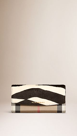 Zebra Print and House Check Continental Wallet