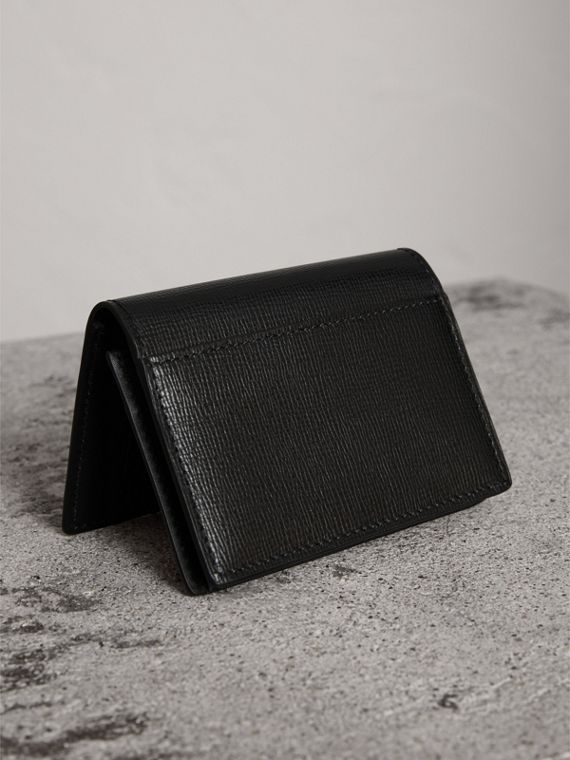 London Leather Folding Card Case in Black | Burberry United States - cell image 2
