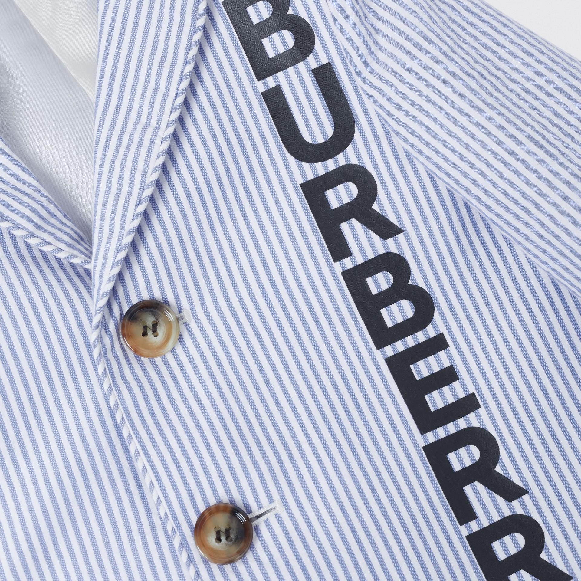 Logo Print Striped Cotton Seersucker Blazer in Cornflower Blue - Children   Burberry Australia - gallery image 1
