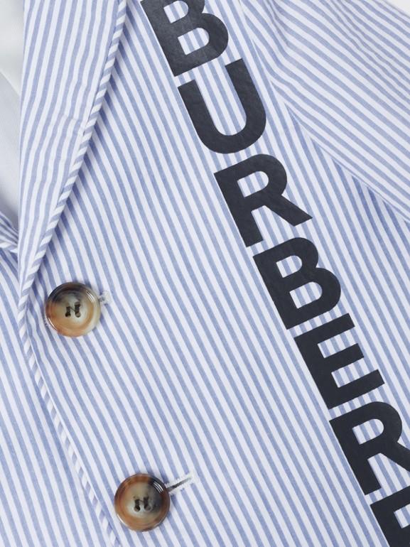 Logo Print Striped Cotton Seersucker Blazer in Cornflower Blue - Children   Burberry Australia - cell image 1