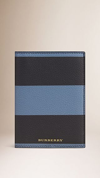 Striped Grainy Leather Passport Cover