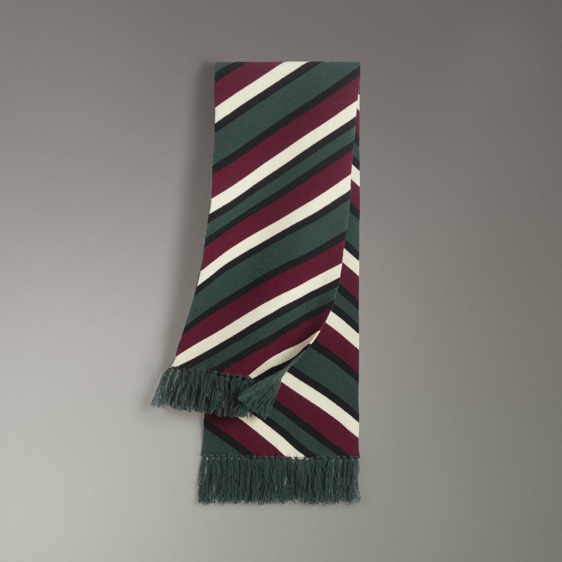 Tri-tone Striped Wool Cashmere Scarf in Olive | Burberry - gallery image 0