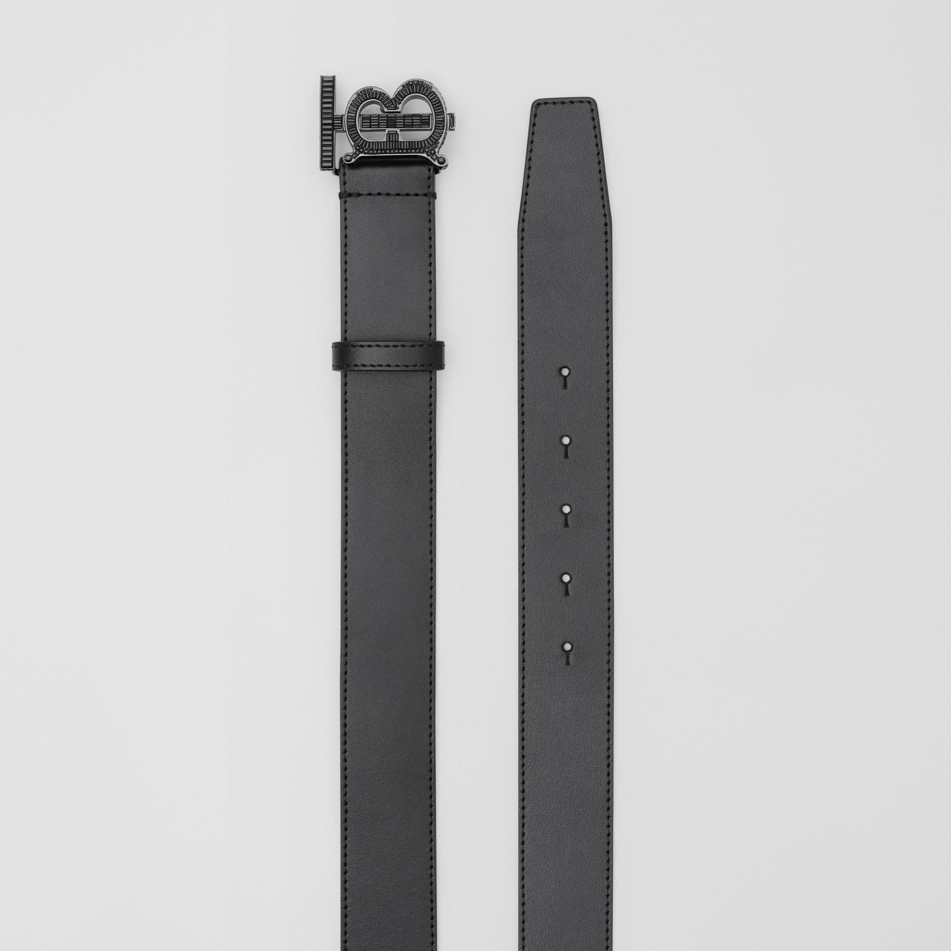 Cinturón en piel con monograma y cristales (Negro) - Hombre | Burberry - imagen de la galería 5