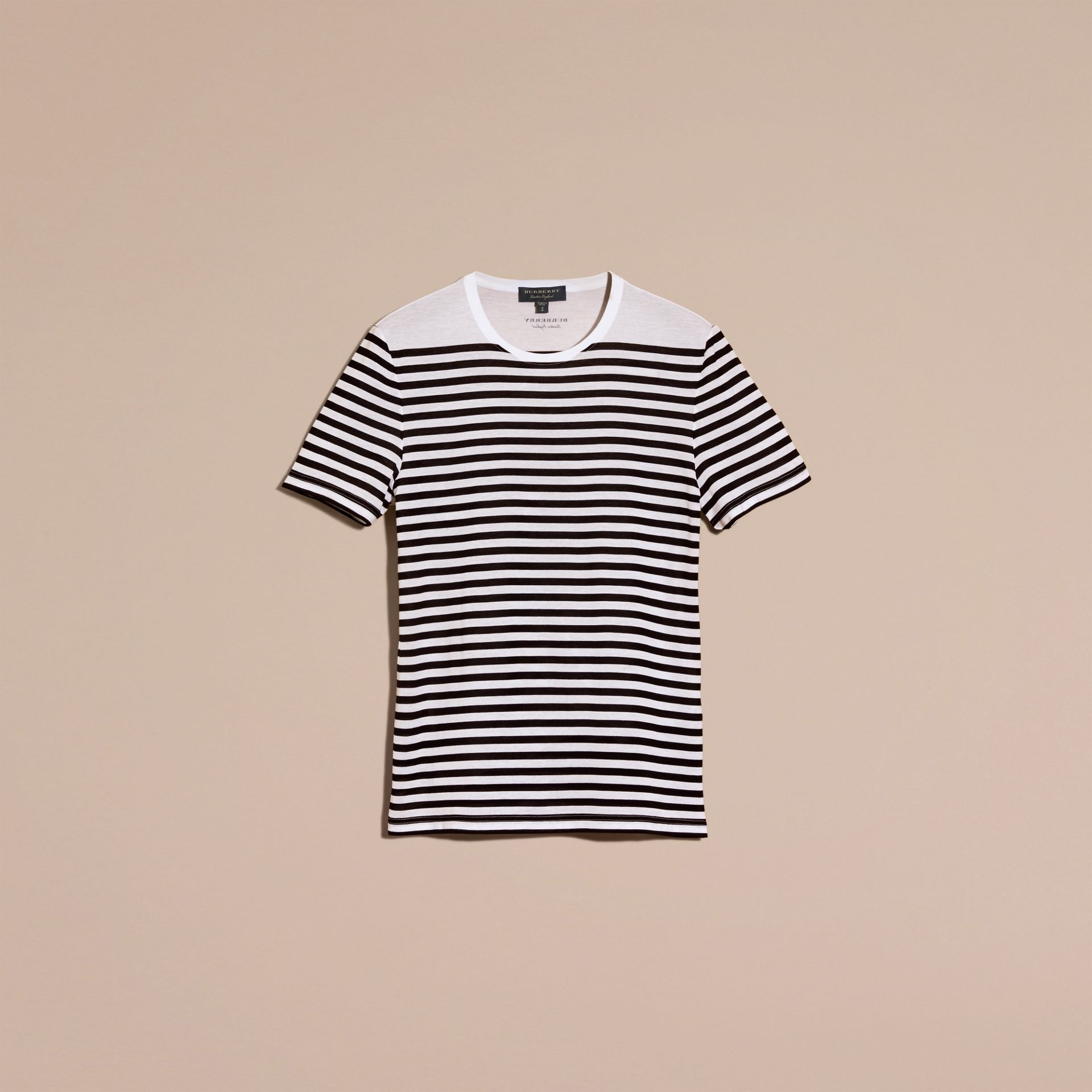 Bright navy Striped Cotton T-shirt Bright Navy - gallery image 4