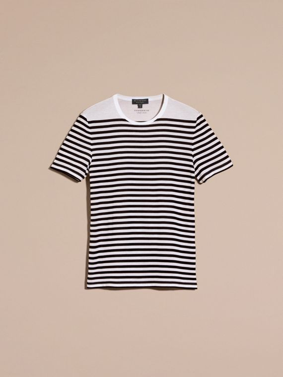 Bright navy Striped Cotton T-shirt Bright Navy - cell image 3
