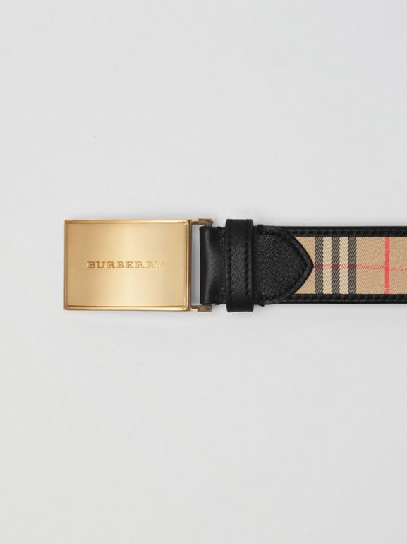Plaque Buckle 1983 Check and Leather Belt in Black - Men | Burberry Australia - cell image 1