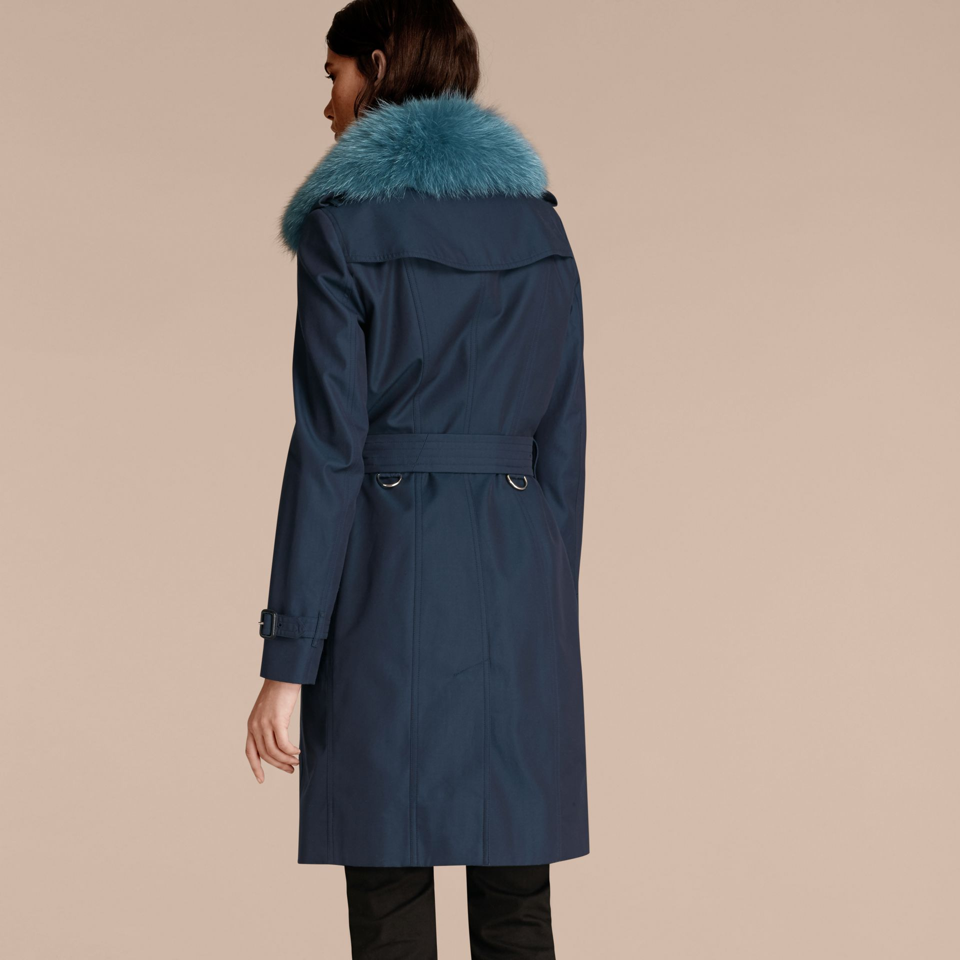 Teal blue Cotton Gabardine Trench Coat with Detachable Fur Collar and Warmer Teal Blue - gallery image 3