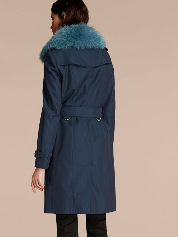 Teal blue Cotton Gabardine Trench Coat with Detachable Fur Collar and Warmer Teal Blue - cell image 2