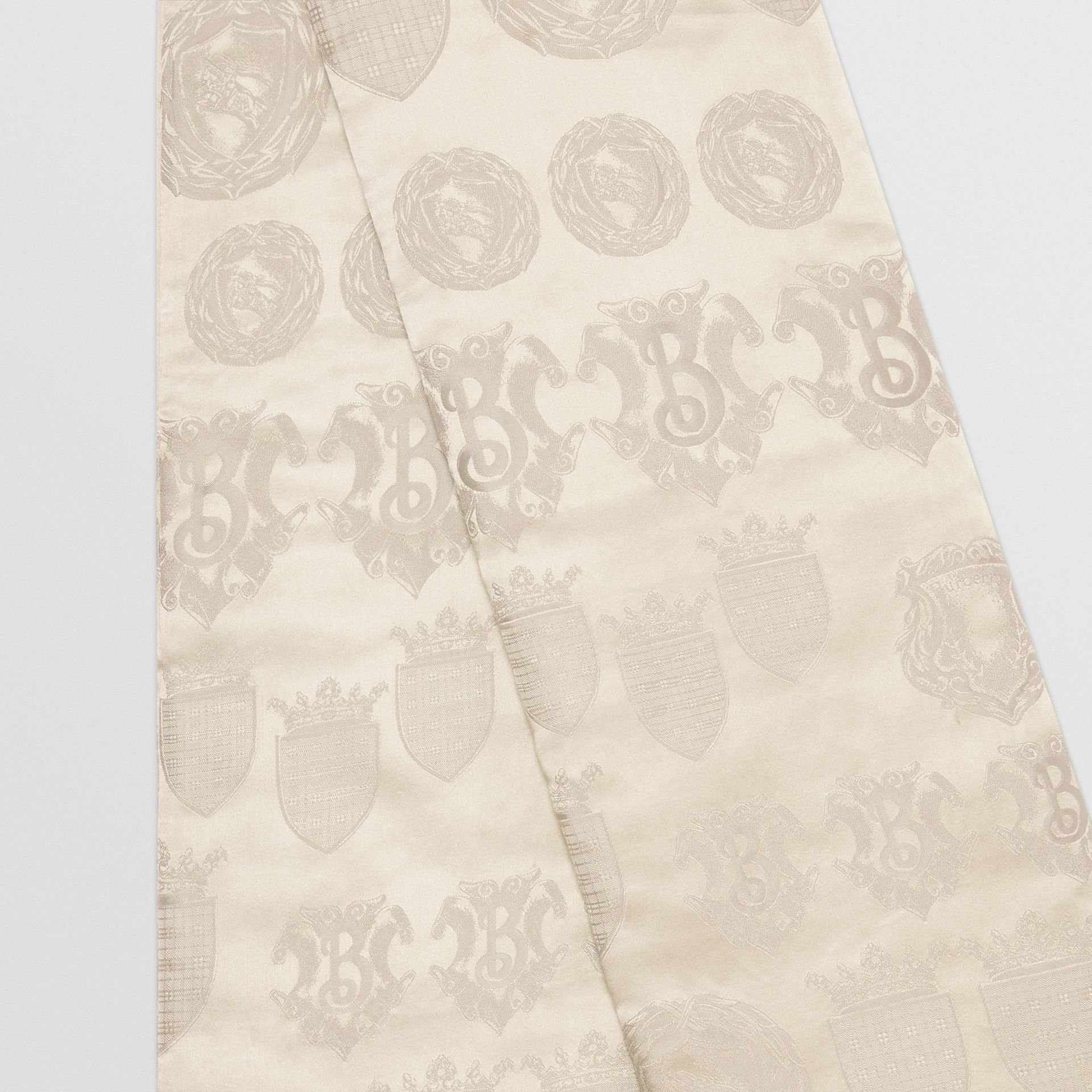 Archive Shield Silk Jacquard Puffer Scarf in Stone | Burberry - gallery image 1