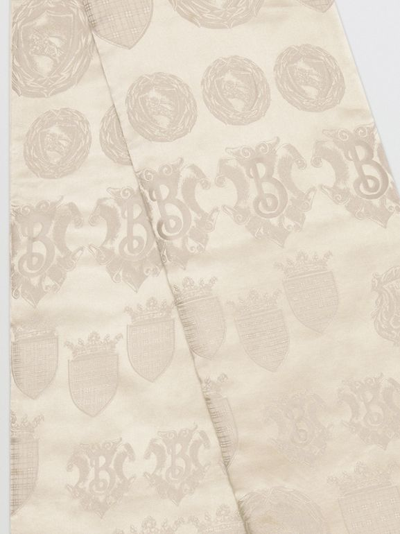 Archive Shield Silk Jacquard Puffer Scarf in Stone | Burberry - cell image 1