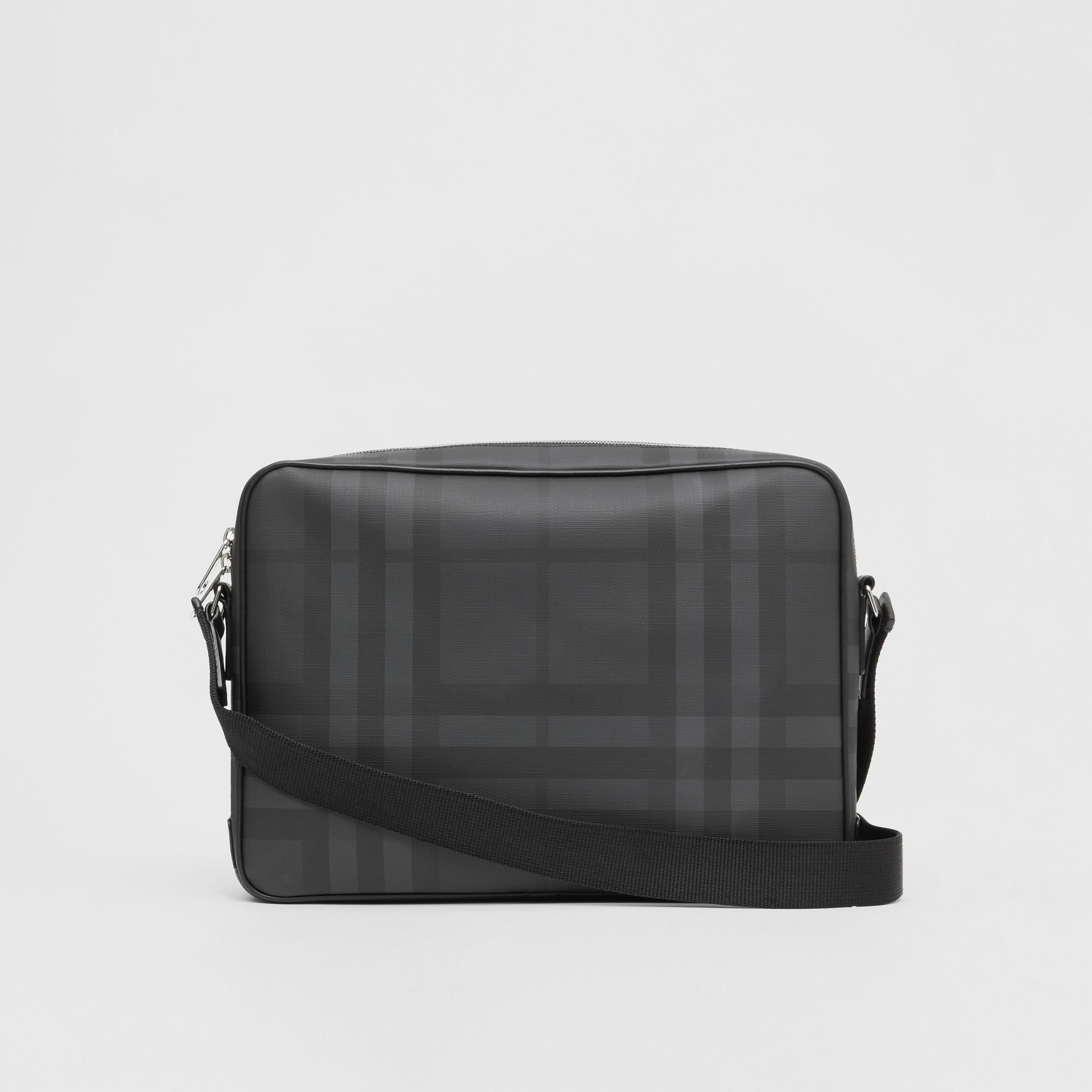 London Check and Leather Messenger Bag in Dark Charcoal - Men | Burberry United Kingdom - gallery image 7
