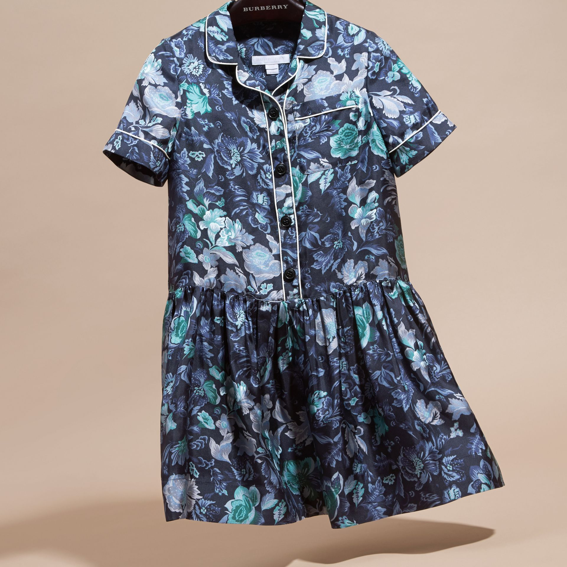 Garden Floral Print Silk Shirt Dress - gallery image 3