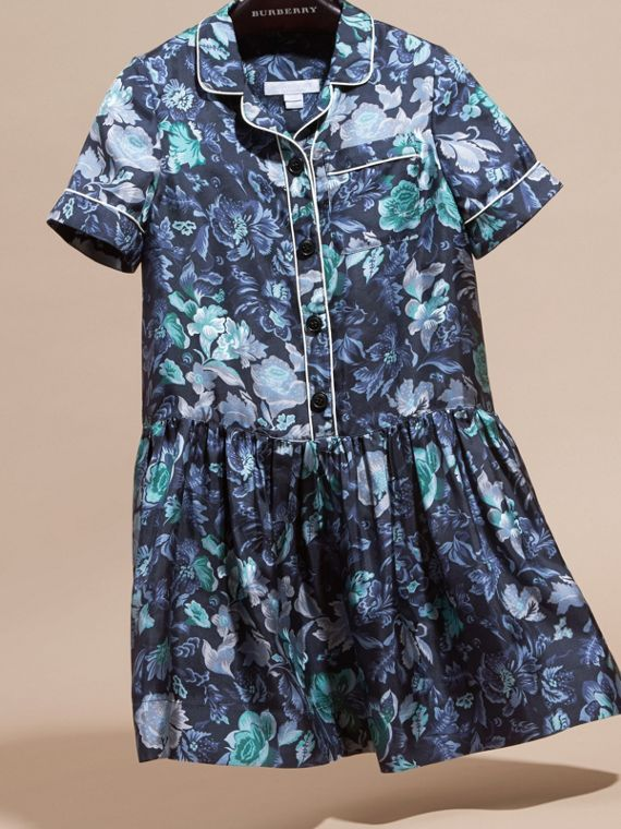 Garden Floral Print Silk Shirt Dress - cell image 2