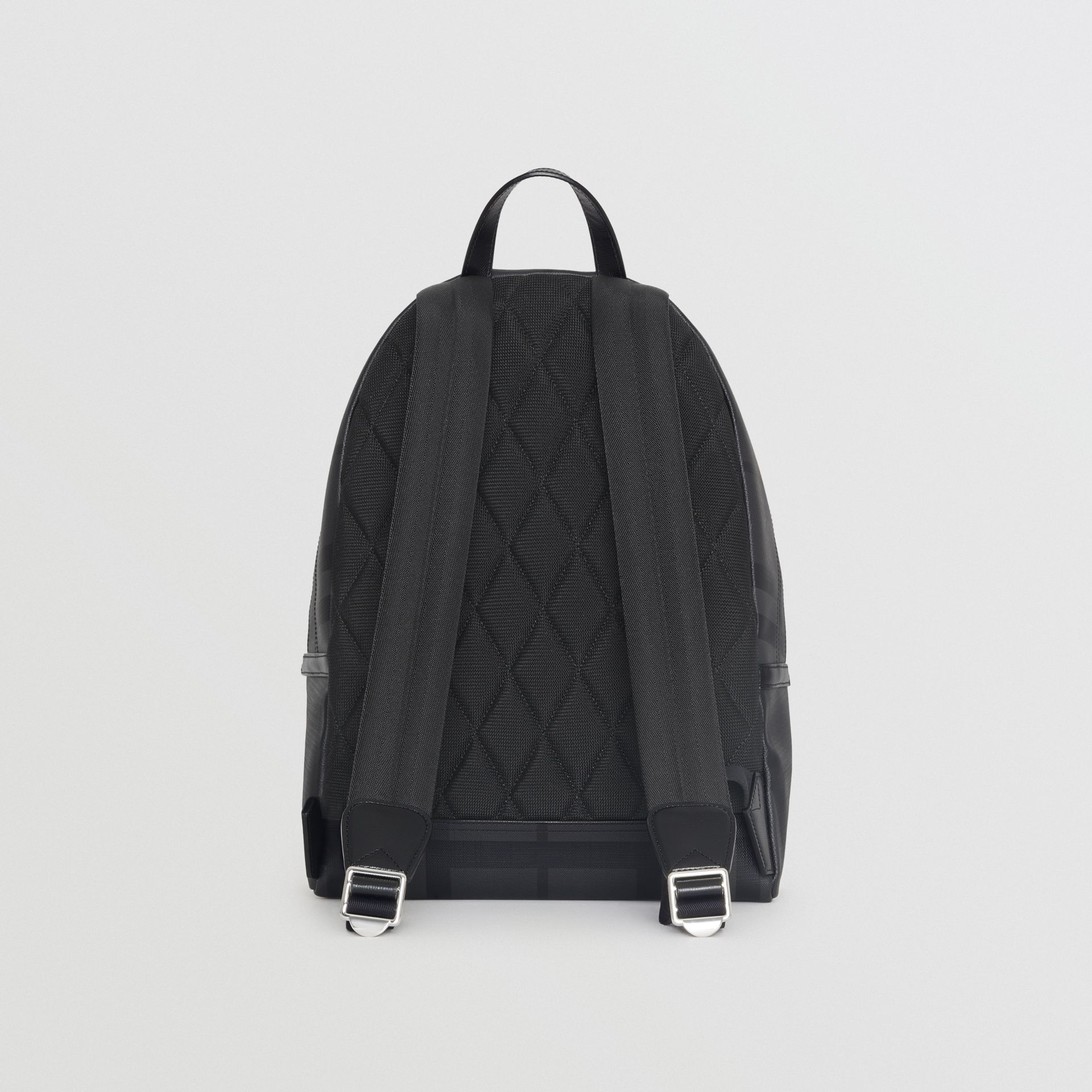Leather Trim London Check Backpack in Charcoal/black - Men | Burberry Australia - gallery image 7