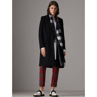 Super Check Merino Wool Scarf in Navy | Burberry United States UN95